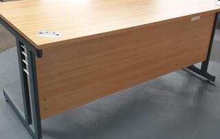 Oak desk with modesty panel