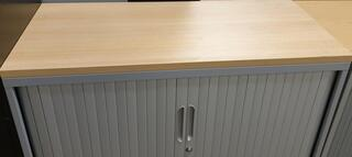 Oak top grey metal tambour