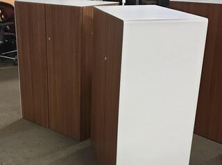 Walnut and white cupboards Sold as a pair