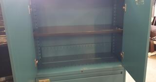 Teal metal cupboard