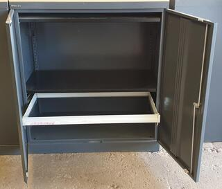 Bisley cupboard with rollout frame