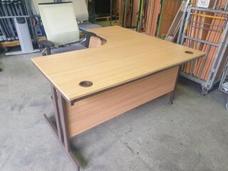 Oak Corner Desk Complete With Desk High Pedestal