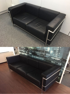 additional images for Le Corbusier style 2 & 3 seater black leather sofas, from