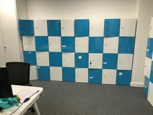 additional images for Blue and white wooden 4 door lockers