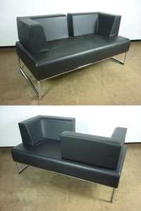 additional images for Allermuir Pause black leather sofas