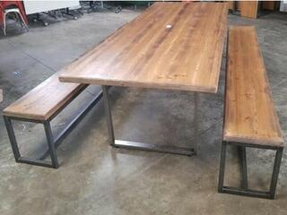 2200 amp 2400x1000mm rustic table and bench set