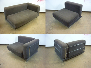 additional images for Chrome wire frame brown modular sofas