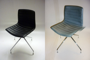 additional images for Arper Catifa 46 leather trestle base chairs