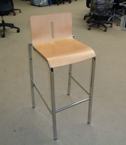 additional images for Beech wood and chrome frame stool