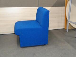 Blue fabric low armcahir
