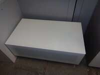 additional images for Low white glass top storage unit
