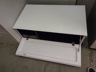 Low white glass top storage unit