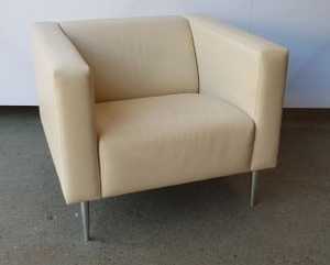 additional images for Davidson Highley cream leather single seat armchair