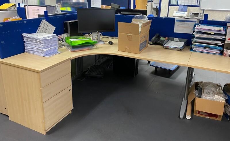 additional images for Maple corner desk, desk high pedestal & Screen