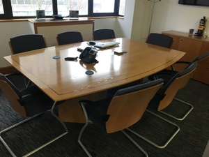 additional images for 2200mm oak veneer barrel shape boardroom table