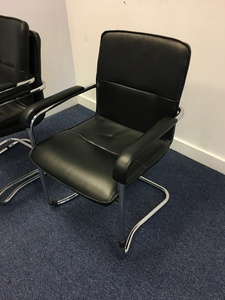 additional images for Black leather stacking chairs