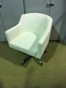 additional images for White faux leather swivel armchairs