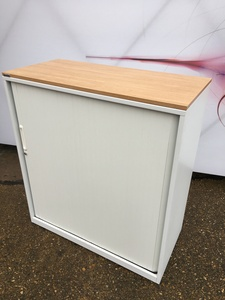 additional images for 1100mm high Triumph white/oak tambour cupboard