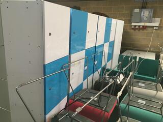 Blue and white wooden 4 door lockers