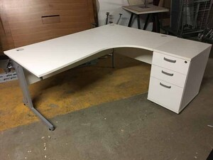 additional images for White 1800x1200mm radial desk and pedestal