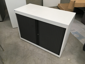 additional images for Desk high Bisley white metal tambour cupboard