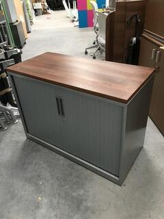 1210mm high Triumph silverwalnut tambour cupboard