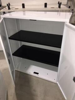 White 1155mm high double door cupboards