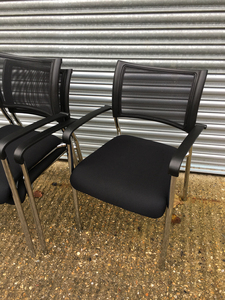 additional images for Black mesh back stacking chairs