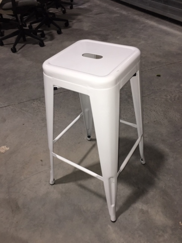 additional images for White metal 4 leg bar stackable stools