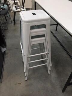 White metal 4 leg bar stackable stools