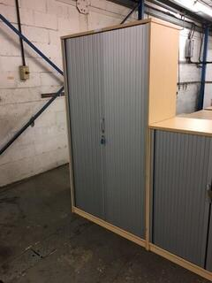 900mm high Elite ash tambour cupboard