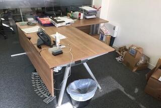 Senator Core Highland Oak bench amp single desks