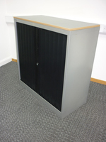 additional images for 1040mm high black/silver Bisley side tambour cupboard