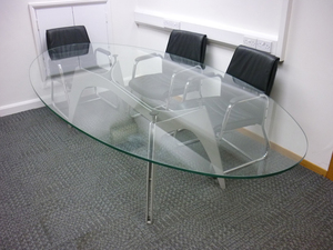 additional images for 2800x1400mm glass oval boardroom table