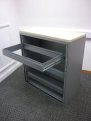 additional images for 1100mm high Steelcase silver/maple tambour cupboard with rollouts