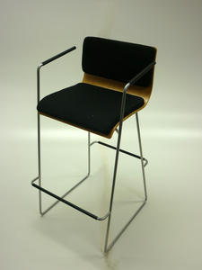 additional images for Black fabric/beech plywood high stool