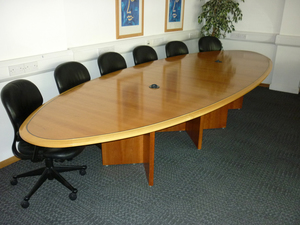 Cherry Veneer Boardroom Table Second Hand Office Furniture - Elliptical conference table