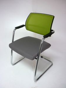 additional images for Grey & lime green Sitland mesh meeting chairs