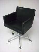 additional images for Black leather square mobile meeting chairs