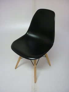 additional images for Vitra DSW look-a-like black gloss dining chair