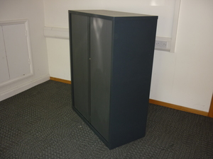 additional images for 1320mm high black metal tambour front cupboard