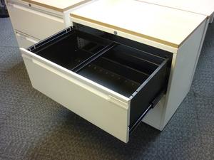 additional images for Bisley white/dark oak 1000mm wide 2 drawer side filer