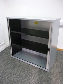 Bisley 1150mm high silver tambour cupboards