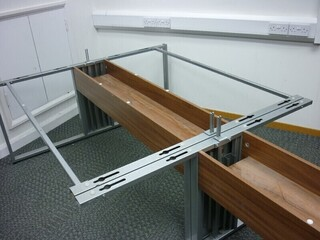 Sven Ambus walnut pair of bench desks