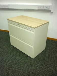 additional images for Bisley cream/maple 800mm wide 2 drawer side filer