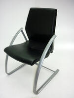 additional images for Black leather Verco Focus meeting chairs