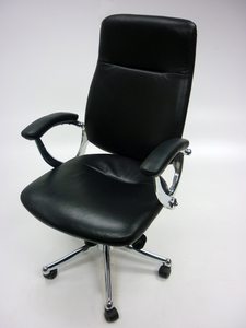 additional images for Black leather high back executive chair