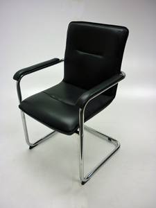 additional images for Black and chrome cantilever chairs