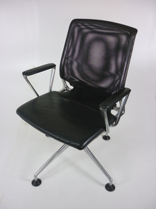 additional images for Vitra Meda black leather & mesh conference chair