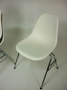 additional images for Vitra DSS white plastic stacking side chair with links